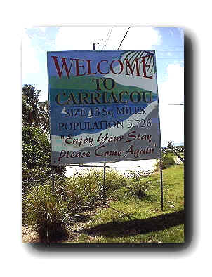 Sign greating visitors near Palm Beach and Lauriston International Airport, Carriacou